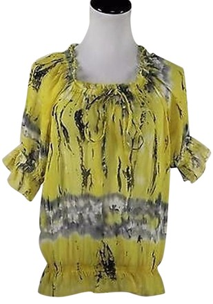 1ae77239 new Pinky Womens Yellow Printed Top Shirt Blouse Polyester 34 Sleeve  #18211507 - Blouses