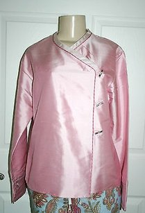 Other Kai Mira Striped Trim 100 Silk Asian Toggle Boutique Top Pink