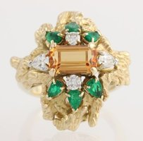 Other Topaz Emerald Diamond Cocktail Ring - 14k Yellow Gold Womens Natural Precious