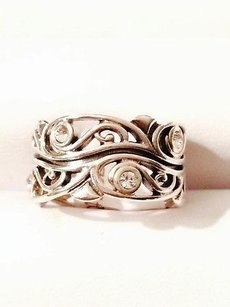 Other Tp Jewel Sterling Silver Filigree Band Ring W Cz Round Accent Stones