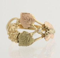 Tri-toned Gold Cocktail Ring - 10k Yellow Rose Green Gold Dia. Accent .01ctw