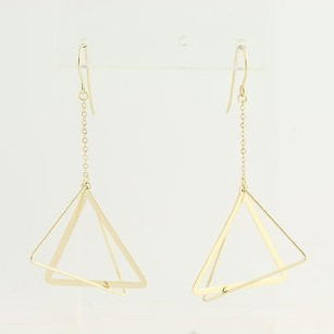 Triangle Drop Earrings - 14k Yellow Gold Contemporary Pierced