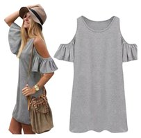 short dress Gray Tunic Boho Off Shoulder on Tradesy