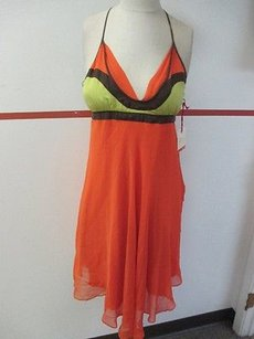 Other short dress Orange In The Now Yellow Brown Silk Spaghetti Strap Tunic 463a on Tradesy