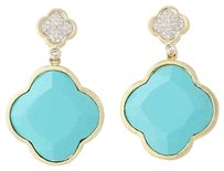 Other Turquoise Diamond Quatrefoil Earrings - 14k Yellow Gold Drop Pierced .30ctw