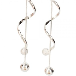 Twist Style 925 Silver Plated Copper Dangle Pierced Earrings
