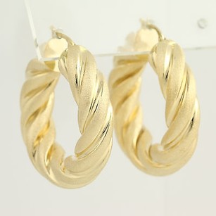 Twisted Hoop Earrings - 18k Yellow Gold Textured Pierced