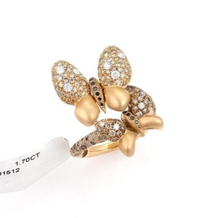 Two Butterfly Ring With 1.70ct White Champagne Diamonds In 18k Rose Gold