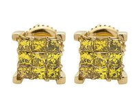 Unisex 10k Yellow Gold Prong Cube Princess Canary Diamond Earrings 1.0ct 8mm