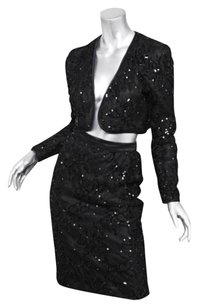 Valentino Night Womens Evening Black Lace Sequin Open Jacketpencil Skirt Set