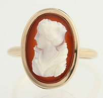 Other Victorian Cameo Ring - 10k Yellow Gold Carved Hardstone Banded Agate Vintage