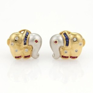 Vintage 1.13ct Diamonds Sappphire Ruby 14k Two Tone Gold Elephant Earrings