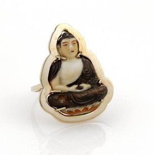 Vintage 14k Yellow Gold Hand Painted Buddah On Lotus Flower Ring