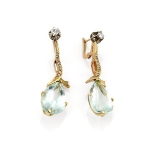 Other Vintage 18.40ct Aquamarine Diamond 18k Rose Gold Drop Dangle Earrings