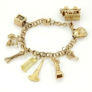 Vintage 18k 14k Yellow Gold Charms Double Link Chain Bracelet