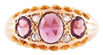 Vintage 1930's Rose Cut Rubies Old Miner Diamonds 14k Rose Gold Ring
