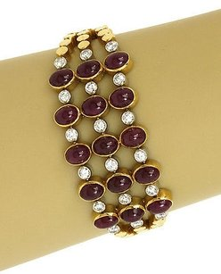 Vintage 24ct Diamonds Cabochon Rubies 18k Gold Triple Strand Dot Link Bracelet