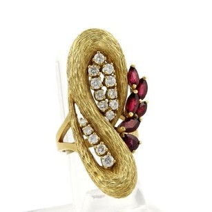 Other Vintage 2.65ct Diamonds Ruby 18k Yellow Gold Textured Fancy Long Top Ring