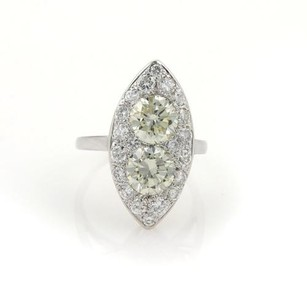 Vintage 3.85ct Diamonds 14k White Gold Solitaires Ladies Cocktail Ring