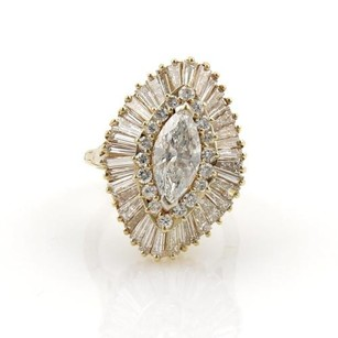 Vintage 5.80ct Diamonds 18k Yellow Gold Marquise Shape Cocktail Ring 6-7.5