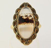 Vintage Inspired Agate Ring - Chunky Stone Scalloped Frame Brown White