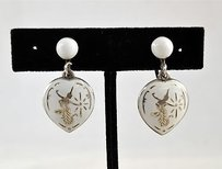 Vintage White Enamel Heart Earrings W Sterling Hardware
