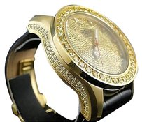 Other Mens Khronos Satin Gold Finish Canary Yellow Stone Real Diamond Watch