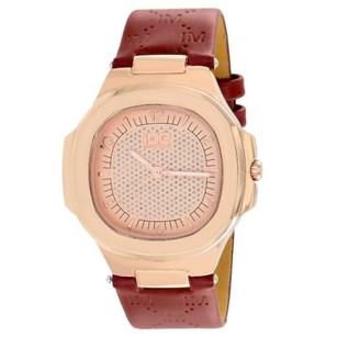 Ice Master Watch Techno Pave Rose Gold Tone Red Leather Band Water Resistant
