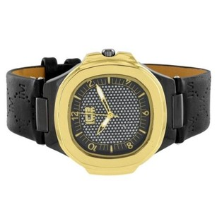 Ice Master Gold Tone Watch Black Dial Leather Bracelet Stainless Steel Case 48mm