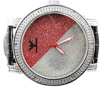 Mens Diamond King Joe Rodeo Jojo Redwhite Colored Finish Face Diamond Watch