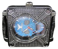 Mens Diamond King Joe Rodeo Jojo Blue Skull Diamond Hip Hop Watch