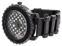 Mens All Black Watch Bullet Design Band Simulated Diamond Jojo Jojino Style Sale