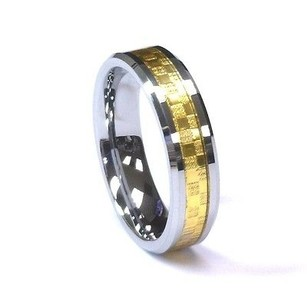 Amz 6mm Tungsten Carbide Silver Gold Fiber Mens Unisex Wedding Band Ring
