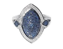 White Gold Finish Ladies Blue White Diamond Marquise Fashion Cocktail Ring 1 Ct