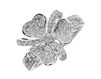 White Gold Finish Ladies Round Diamond Flower Fashion Cocktail Ring 0.70 Ct