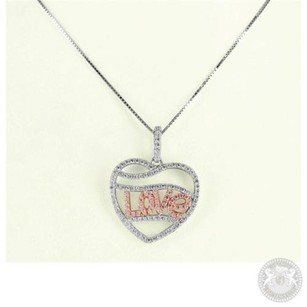 Other White Gold Finish Ladies Waves In Heart Love Lab Diamond Pendant Chain Charm 1