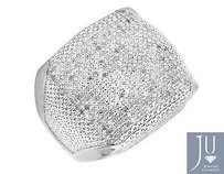 White Gold Finished Contour Square Wide Diamond Pinky Exclusive Ring 0.85ct.
