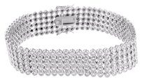 White Mens Bracelet Round Cut Simulated Diamonds Tennis Style Inch