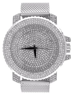 White Mesh Bracelet Watch Iced Out Face Case Analog Simulated Diamonds Jojino