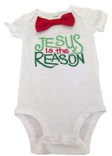 Other #etsy #jesus #baby Boy #onesie #bow Tie T Shirt White with green and red