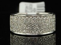 Diamond Wedding Band Ladies 14k White Gold Round Pave Anniversary Ring 1 Tcw.