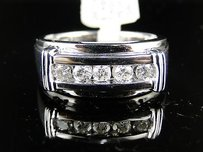 14k Mens White Gold Genuine 5 Diamond Band Ring 0.48 Ct
