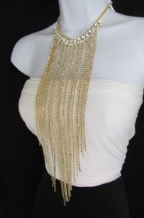 Women 21 Long Fashion Necklace Gold Metal Thin Chain Fringe Rhinestones