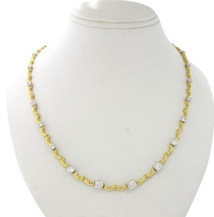 Womens 18k Solid Yellow & White Gold 4.00ct Diamond Estate Tennis Necklace