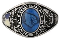 Womens Class Ring - Synthetic Blue Spinel Reagan High School Silver Tone