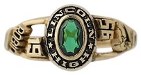 Womens Class Ring - Synthetic Green Spinel Lincoln High School 1995 6.25