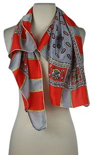 Other Baar Amp Beards Inc Womens Red Gray Scarf Os One Printed Silk Casual