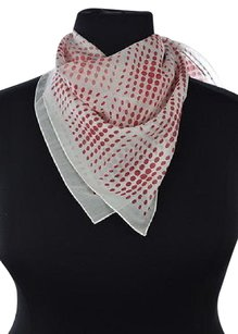 Brooks Brothers Red Fleece Womens White Red Scarf Os Printed Cotton Silk
