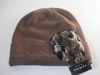 Other Yarnz Cashmere Knit Feather Button Hat Brown
