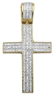 Yellow Gold Finish Dome Cross Inch Rows Pave Diamond Pendant Charm 0.50ct.